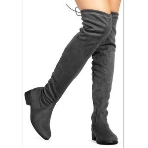 Grey Over the Knee Flat boot OTK